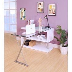 Lachlan Glass L-Shape Executive Desk Glass Top Desk, Contemporary Desk, Storing Books, L Shaped Desk, Acme Furniture, Home Office Desks, Small Apartments, Display Shelves, Room Decor Bedroom