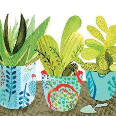 Leinwandbild Floral Cacti Pots 1 East Urban Home Format: Poster, Gre: 46 cm H x 46 cm B Framed Artwork, Framed Prints, Framed Wall, Cactus Pot, Cacti, Painting Prints, Art Prints, Paintings, Southwestern Art