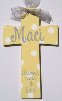Hand painted personalized childs wood cross by BellaLouart on Etsy