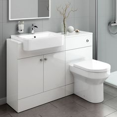 This toilet and sink vanity storage unit features a built in toilet and white ceramic bathroom sink, making it the suitable for any contemporary bathroom design. This superbly constructed bathroom storage unit is produced from moisture resistant MDF and c