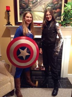 Here is me and my friend as Captain America and Bucky! My friend's metal arm is so cool! She used pieces of cardboard and glued them to a shirt then spray painted it. Captain America Cosplay, Captain America And Bucky, Winter Soldier Cosplay, Comic Con Costumes, Marvel Cosplay, Rocks, Arm, Suit, Superhero