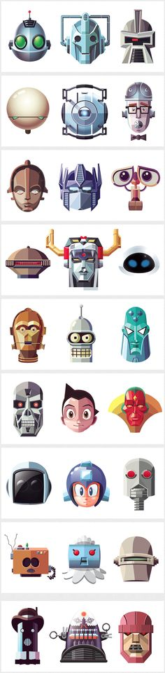 Famous Robots - Daniel Nyari Graphic Design & Illustration    http://iamdany.com/Famous-Robots