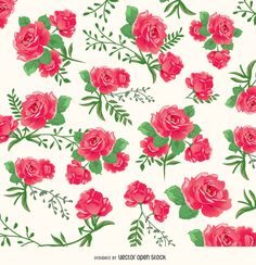 Roses background pattern with highly detailed roses in seamless pattern. High quality JPG included. Under Creative Commons 4.0. Attribution License.