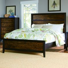 TRIBECCA HOME Draven Rustic Espresso Drifted Oak Wood Bed - Overstock™ Shopping - Great Deals on Tribecca Home Beds