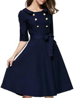 Retro Style Half Sleeve Turn-Down Collar Self Tie Belt Double-Breasted Dress For Women
