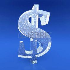 Signo de dólar congelado en el fondo azul photo
