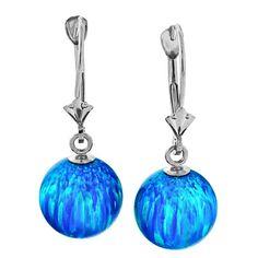 Oceans: 10mm Pacific Blue Opal Ball Drop Leverback Earrings 925 Silver