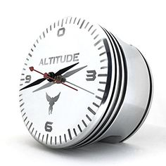THE ALTIMETER WWII AIRPLANE RADIAL ENGINE PISTON ALTITUDE POLISHED DESK CLOCK ** Want additional info? Click on the image.