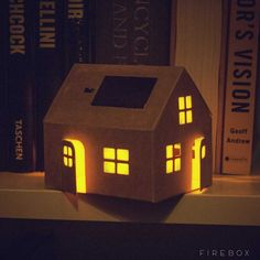 Made from recycled cardboard and neatly packaged in it's own little envelope, this dinky solar-powered dwelling is pre-cut, pre-folded and ready to roll. It's dead easy to assemble and even more fun to decorate. Solar Shed Light, Solar Light Crafts, Diy Solar, Solar Lamp, Solar Lights, Solar Energy, Solar Power, Recycled Paper Crafts, Mason Jar Lighting