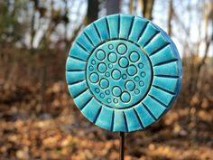 """Keramik Pflanzenstecker / Beetstecker """"blau 1"""" von gedemuck auf DaWanda.com"""