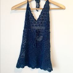 Navy Crochet Tank Love this just never had a place to wear it. Prefect for festival season! Tops Tank Tops