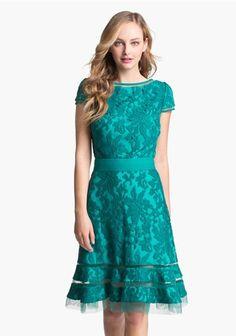 Morpheus Boutique  - Teal Floral Lace Cap Sleeve Celebrity Pleated Hem Dress