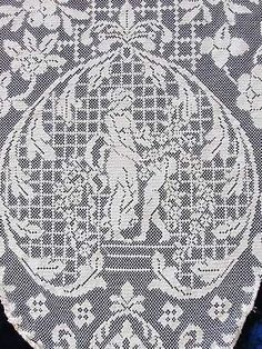 Antique Handmade Intricate Figural Cherubs Maidens Urns Filet Lace Tablecloth 90 | Vintageblessings