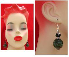 Green Snake Skin Print Earrings handmade jewelry by britpoprose99, $4.50