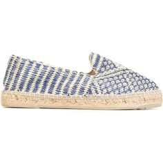 Manebi woven espadrilles (£105) ❤ liked on Polyvore featuring shoes, sandals, blue, espadrille shoes, braided shoes, espadrille sandals, woven shoes and blue shoes