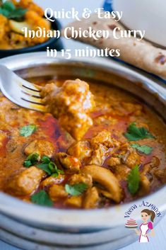 This quick and easy Indian Chicken Curry is a real treat. Made with exotic Indian spices like cumin, coriander and garam masala with added zing from tomato paste and sour cream and the gorgeous color from sweet hot paprika. Indian Chicken Recipes, Easy Indian Recipes, Easy Chicken Recipes, Oven Recipes, African Recipes, Simple Recipes, Spicy Recipes, Amazing Recipes, Salad Recipes