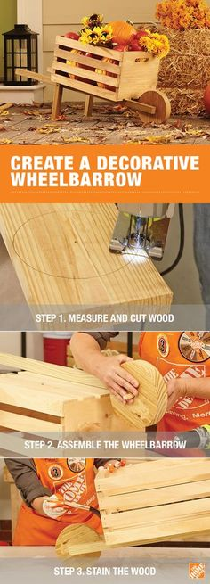 This rustic, DIY wheelbarrow is a great way to get rolling on your fall decorating. You will need a saw, drill, clamp, and other tools to build this decorative wheelbarrow as the base for your autumn display. Personalize it with paint or stain and you'll have a sturdy decor piece for years to come. Click through for the full tutorial!
