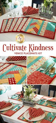 """Brighten up your table this spring with this set of six adorable quilt as you go Venice Placemats featuring the beautiful floral prints, stunning color combinations, and gorgeous tonal designs of the Cultivate Kindness collection from Moda! Using the pre-printed batting by June Tailor, they come together quickly! Finished placemats feature a pocket for your utensils! Placemats each measure approximately 14"""" x 17"""". #FabricDiningRoomChairs Old Baby Clothes, Fall Clothes, Fabric Dining Room Chairs, Quilting Projects, Small Quilt Projects, Fabric Scraps, Quilting Fabric, Place Mats Quilted, Civil War Quilts"""