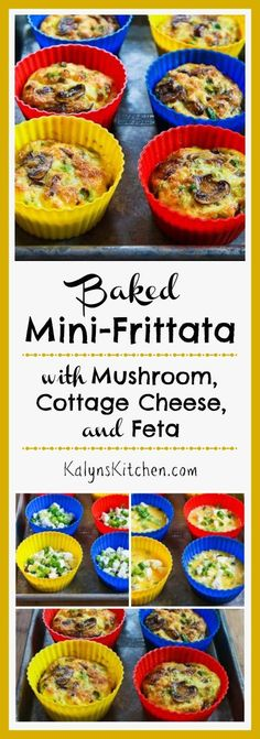 Baked Mini-Frittata with Mushrooms, Cottage Cheese, and Feta is a delicious breakfast idea that's low-carb, gluten-free, and South Beach Diet Phase One. [KalynsKitchen.com]