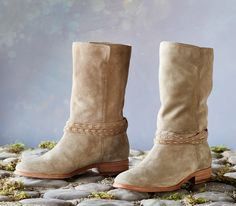 Cara Pickstitch Mid-Height Boots - A classic look by Frye® in soft and slouchy suede, with wraparound leather lariat and stacked heels.