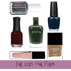 Beauty Hues-Day: Fall 2013 Nail Polishes via A Good Hue (Essie- For the Twill of It | Orly- Bus Stop Crimson | Zoya- Hunter | OPI- Incognito in Sausalito | Julep Nail Vernis- Pippa | Butter London- West End Wonderland)