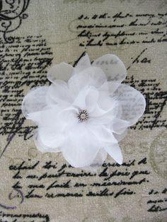 Wedding White Flower Bridal Chiffon Flower Clip by RomanticARTlife,