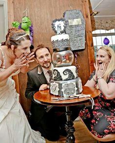 Tim Burton wedding cake. Me with bride and groom.