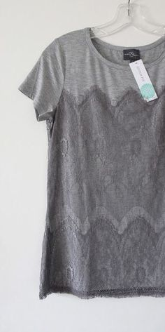 **** Grey lace overlay detail top. Stitch fix fashion trends. Stitch Fix Fall, Stitch Fix Spring Stitch Fix Summer 2016 2017. Stitch Fix Fall Spring fashion. #StitchFix #Affiliate #StitchFixInfluencer