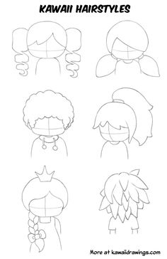 Cartoon Drawing Tips This is a collection I created of step-by-step tutorials on how to draw kawaii, design kawaii characters, draw kawaii faces and hair styles. Also a showcase of my kawaii drawings and illustrations. Cartoon Hair, Cartoon Faces, Cartoon Drawings, Easy Manga Drawings, Cartoon Illustrations, Cartoon Boy, Eyes Chibi, Chibi Manga, Chibi Cat