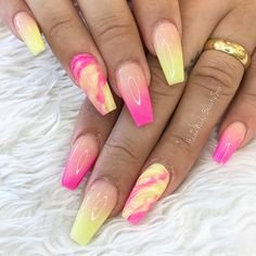 Want some ideas for wedding nail polish designs? This article is a collection of our favorite nail polish designs for your special day. Read for inspiration Glam Nails, Neon Nails, Fancy Nails, Fabulous Nails, Gorgeous Nails, Pretty Nails, Summer Acrylic Nails, Best Acrylic Nails, Colorful Nail Designs