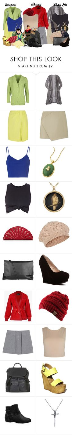 """""""Mulan, Shang & Shan Yu"""" by amarie104 ❤ liked on Polyvore featuring WearAll, Aéropostale, Giambattista Valli, Carven, Glamorous, Giani, Nancy Gonzalez, SHAN, Disney and Accessorize"""