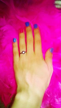 Pink and blue Summer nails.