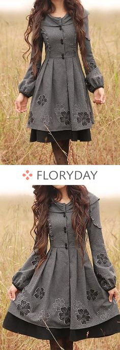 Long sleeve round neck buttons coats, round neckline, women style, lovely.