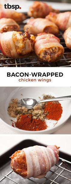 Dry-rubbed chicken wings wrapped in bacon. Chicken wings don't get any better than this. The key to making these wings really flavorful is tossing them in a dry rub before wrapping them in bacon. Perfect appetizer for football sunday!