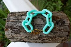 Teal Chain Link Bracelet by SaintEveJewelry on Etsy