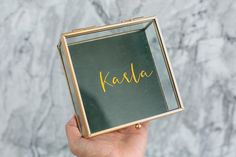 Gold jewellery box made of glass and custom labelled with your name.  Perfect gift for your bridesmaids, to keep your jewellery in or to… Jewellery Box Making, Jewelry Box, Custom Labels, Gold Jewellery, Bridesmaids, Names, Glass, Jewellery Box, Gold Jewelry