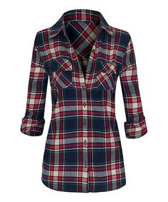 Loving this Navy & Red Plaid Flannel Button-Up on #zulily! #zulilyfinds