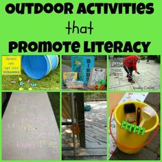 Ready-Set-Read: Early Literacy Outdoor activities My favorite one on this website is Outdoor Literacy Bag. It could be from toddlers and up a book. to pictures i n a picture book Preschool Literacy, Literacy Skills, Early Literacy, Literacy Activities, Outdoor Activities, Activities For Kids, Activity Ideas, Nursery Activities, Teaching Skills