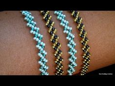 How to make 2 colors bracelet// Easy bracelet tutorial// Handmade bracelet - YouTube Beaded Bracelets Tutorial, Beaded Bracelet Patterns, Seed Bead Bracelets, Seed Bead Jewelry, Bead Jewellery, Beaded Earrings, Handmade Beaded Jewelry, Handmade Bracelets, Diy Jewelry