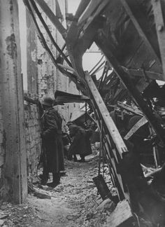 German infantrymen take cover in the ruins of a Stalingrad factory on Dec 10, 1942. The photo appeared in the German press, a rare glimpse into the Stalingrad fighting allowed by the propaganda ministry.