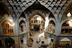 kashan bazaar iran - looking in from above