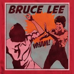 Bruce Lee Wham! Comic Art on Red T-Shirt (Pin) – overjupiter.com