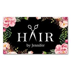 Floral Hair Stylist Logo Beauty Salon Appointment Double-Sided Standard Business Cards (Pack Of - HAIRstyle Sofisty Beauty Business Cards, Custom Business Cards, Business Card Design, Vintage Logo, Hairstylist Business Cards, Beauty Logo, Floral Hair, Salon Design, Beauty Shop