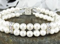 Bridal Multi Strand Cuff Bracelet White Pearl by PixieDustFineries on Etsy