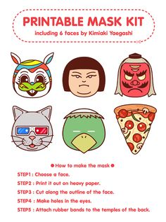Printable mask kit (including pizza face!)