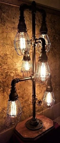 Handcrafted Industrial Pipe Table lamp with bulb cages & vintage bulbs