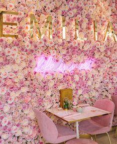 Boutique Decor, Boutique Interior, Boutique Design, Beauty Room Decor, Beauty Salon Decor, Flower Wall Backdrop, Wall Backdrops, Salon Interior Design, Nail Salon Design