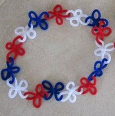 4th of July Pipe Cleaner Leis  http://www.allfreeholidaycrafts.com/Fourth-of-July-Crafts/4th-of-July-Pipe-Cleaner-Leis#