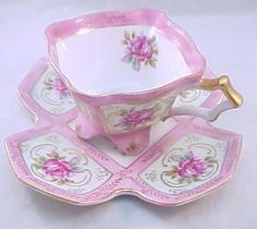 Fabulous Royal Sealy Square Footed Pink Paneled Rose Teacup And Saucer