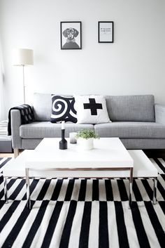 Striped rug, b/w cushions and a dog portrait, I not only love the contrast of black & white, but also the contrast between static and joyful (via Myke minutter )